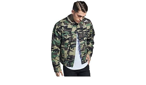 e667742f62 SikSilk SIK Silk Jacket Collarless Distressed Denim - Camo  Amazon.co.uk   Clothing