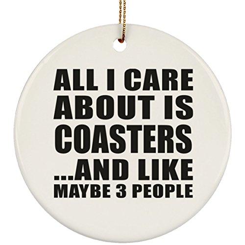 Designsify All I Care About is Coasters - Circle Ornament Kreis Weihnachtsbaumschmuck aus Keramik Weihnachten - Geschenk zum Geburtstag Jahrestag Muttertag Vatertag Ostern (Valentine Tree Ornaments)