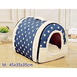 Suministros para mascotas suave y acogedor algodón cubierta al aire libre Cama portable de la casa del animal doméstico del animal doméstico mascota perrera (M: 45x35x35cm, Azul y blanca de la estrella)