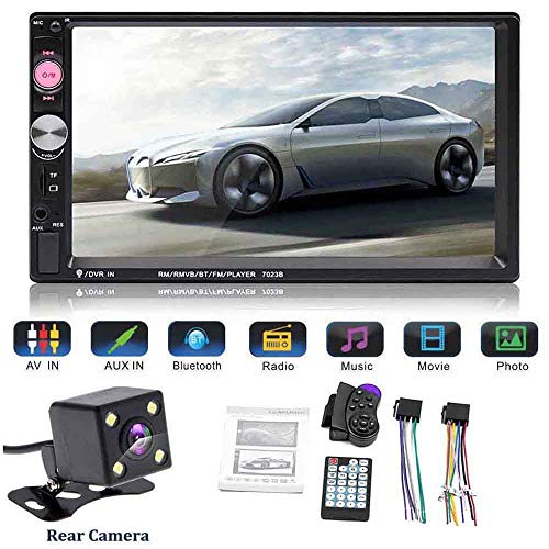 """Boomboost 2 Din-Autoradio 7""""HD Autoradio MP5-Player Bluetooth AUX MP3 FM Auto 2din Touchscreen-Player Unterstützung Mirror Link für Android-Handy mit Ersatzkamera"""