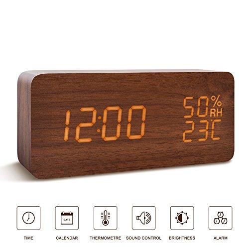 FiBiSonic Wecker Digitale Tischuhr LED Datum Feuchtigkeit Temperatur Holz Standuhr Dekoration Alarm (Digitale Tischuhr)