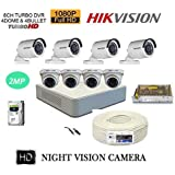 HIKVISION FULL HD 2MP CAMERAS COMBO KIT 8CH HD DVR+ 4 BULLET CAMERAS + 4 DOME CAMERAS+1TB HARD DISC+ WIRE ROLL +SUPPLY & ALL REQUIRED CONNECTORS