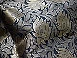 Brokat Stoff in Schwarz und Gold gewebte Lotusblüten