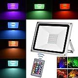 Viugreum 100W Faretto LED RGB Esterno, Proiettore IP65 Impermeabile, 4 Modalità 16 Colori con Telecomando, Faro per Decorazione Festiva di Natale, Halloween, Giardino Faretto LED da Esterno