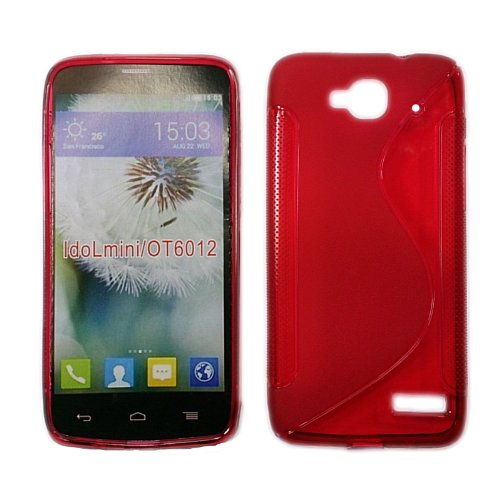 handy-point Gummihülle Silikonhülle Gummi Silikon Schale Schutzschale Schutzhülle Handyschale Handyhülle Hülle für Alcatel One Touch IDOL MINI, Rot - leicht Durchsichtig (Mini Idol Touch One Handy Alcatel)