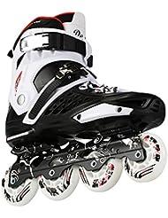 Hombres adultos y mujeres patines de patinaje sobre ruedas, negro y blanco, 36