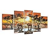 Bilderdepot24 Wandbild - Elefanten M1 - handgemaltes Leinwandbild 150x70cm 5 teilig 630