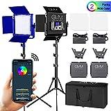 GVM RGB LED Videoleuchte Studiolicht und Ständer Kit CRI97+Dimmbare 3200-5600K Bi-Farbe LED Video Beleuchtung Set für YouTube Studio Fotografie (2 Pack)