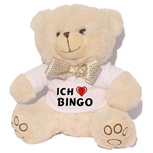 Personalisierter Weiß Bär Plüschtier mit T-shirt mit Aufschrift Ich liebe Bingo (Vorname/Zuname/Spitzname)