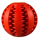 Rubber Dog Toy Chew Toy Treat Ball Pet Dog Rubber Ball Pet Snack Ball Pet Toy Balls for Pet Training Playing Chewing Toy- 2.75 Inch (Red)