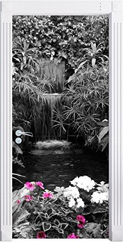 Un'ampia Blumenoase nero / bianco murale, Formato: 200x90cm, telaio della porta, adesivi porta, porta decorazione, (Fiore Fontana Parete)