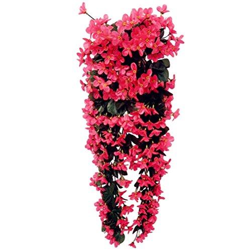 stlich hängende Blumen, Blauregen Hängende Kunstblumen für Hochzeit Haus Dekoration (Rose Rot) (Hängende Dekorationen)