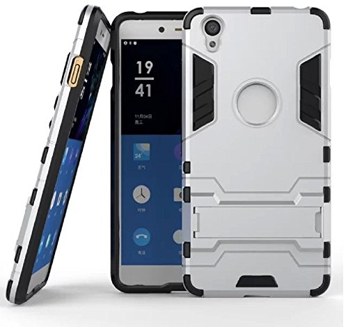Heartly Graphic Designed Stand Hard Dual Rugged Armor Hybrid Bumper Back Case Cover For Oneplus X / One Plus X - Champagne Silver