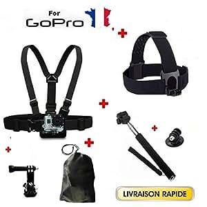 Kit Accessoires 6 en 1 pour GoPro Pack Harnais poitrine + fixation + bandeau tete + perche + adaptateur