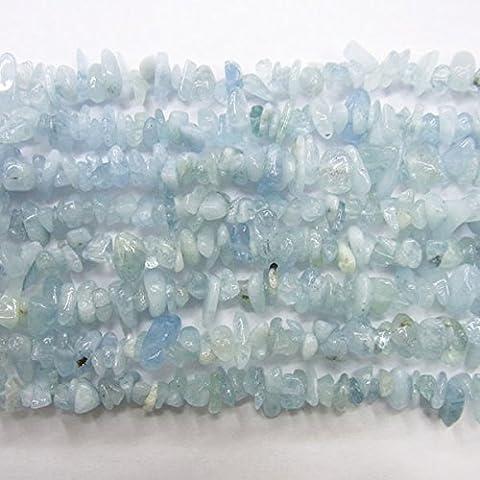 TheTasteJewelry A Qualität Aquamarin Natürlich Splitter 5-8mm Perlen 88.9cm Strang DIY Schmuckherstellung Zubehör Halskette Armband Basteln (Natürliche Aquamarine Kristall)
