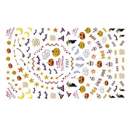 Halloween Nailsticker, 12shage Nail Art Selbstklebende Nail Sticker Tattoo Halloween Tipp Decals (B)
