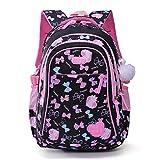 Mädchen Schulrucksack,Schultertasche für Kinder,Laptop Rucksack Outdoor Reisetasche Kind Daypack Grundschüler Schultasche -Schwarz