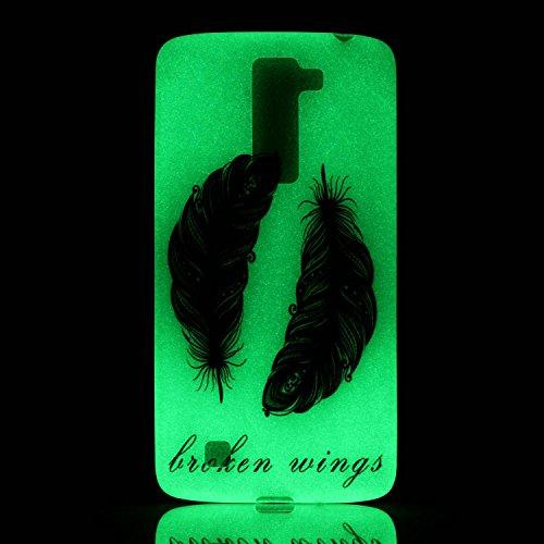 Coque iPhone 6/6S 4.7 Pouce Housse Lumineux [avec Gratuit Protections D'écran],Verte Lumineuse Fluorescent dans le Noir Transparente Silicone Gel Etuis Ultra Slim Mince Soft Souple Résistante Antichoc Noire Plume