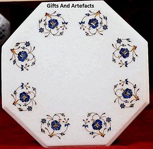 30,5cm Octagon weiß Marmor Couchtisch Top Einlage Lapislazuli Luxus Flower Art