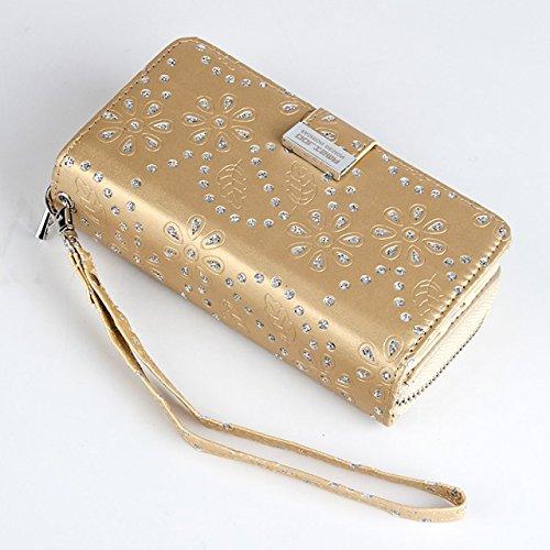EKINHUI Case Cover Großer Kapazitäts-Ahorn-Blumen-PU-lederner Kasten mit freistehender rückseitiger Abdeckung für iPhone 7 Plus ( Color : Rose ) Gold