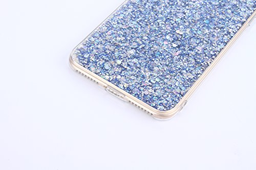 Paillette Coque pour iPhone 7 Plus/8 Plus,iPhone 8 Plus Coque Silicone Étui Ultra Mince Housse, iPhone 7 Plus Souple Coque Etui en Silicone, iPhone 7 Plus Silicone Case Soft TPU Cover, Ukayfe Etui de  Paillette Bleu