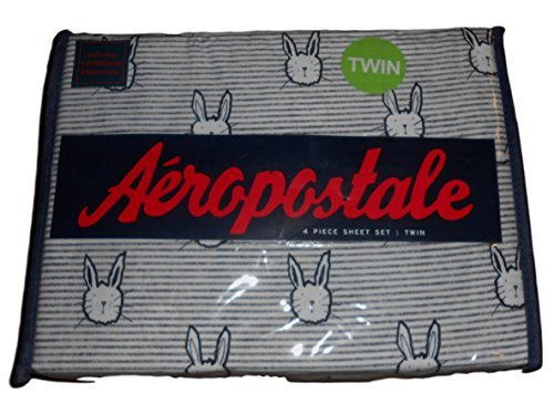 aeropostale-twin-sheet-set-4-piece-flat-fitted-pillowcases-2-grey-bunnies-by-aeropostale