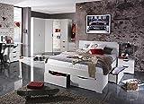 lifestyle4living Jugendzimmer Komplett-Set in weiß, 6-teilig für Mädchen und Jungen mit Kleiderschrank, Bett und Nachttisch