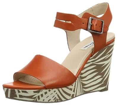 Clarks Women's Orleans Jazz Orange Leather Fashion Sandals - 8 UK
