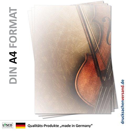 LYSCO Motiv Briefpapier (Musik-5118, DIN A4, 25 Blatt) Musik Briefpapier mit Geige und Bogen Motivpapier