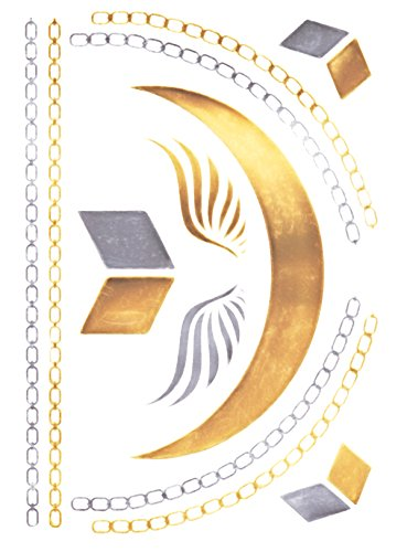 Flash Tattoo Metallic Temporary Einmal Klebe Tattoo Gold Engelsflügel Halskette Collier Armband Kette gold-silber
