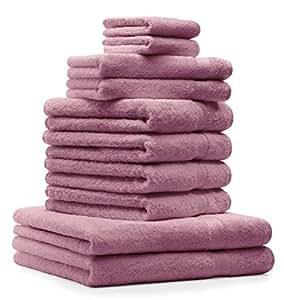 10 tlg. Badetuch Duschtuch Handtücher Set Premium Farbe Altrosa 100% Baumwolle 2 Duschtücher 4 Handtücher 2 Gästetücher 2 Waschhandschuhe mit Kordelaufhänger