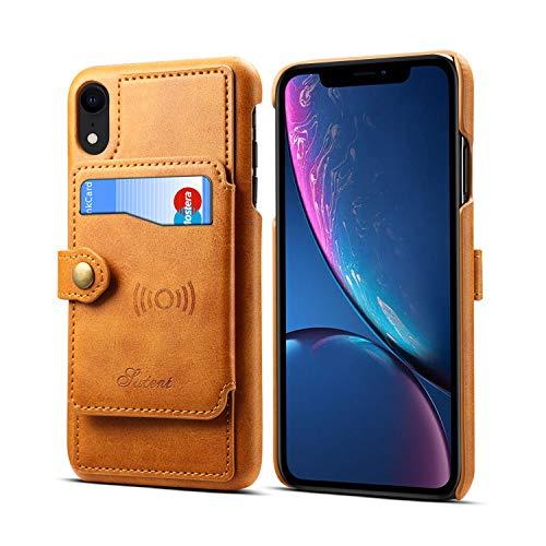 Orange Plaid-taste (Leder-Schutzhülle für Apple iPhone XR 6,1 Zoll 2018, Kartenfächer, Standfunktion, hochwertig, schlank, weich, Khaki)