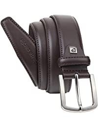 Cinturón de cuero para hombre/cinturón para hombre pierre cardin, color marrón oscuro