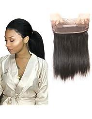 100% non transformés Cheveux humains 360 Dentelle Band droites Frontales Noires Fermeture frontale gratuite supplémentaire vierge Perruque de cheveux de 20CM-56CM