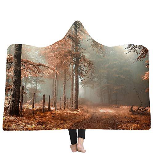 HHJJ Sherpa À Capuche Couverture Throw 3D Paysage Imprimé Wearable Cape Magique Sweat À L'intérieur Confortable Chaud Cosy Super Soft Fleece Blanket,Autumn,Kids