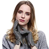 VEMOLLA Damen Winter Handschuhe Echt Leder Gefüttert Lederhandschuhe Grau Size 7