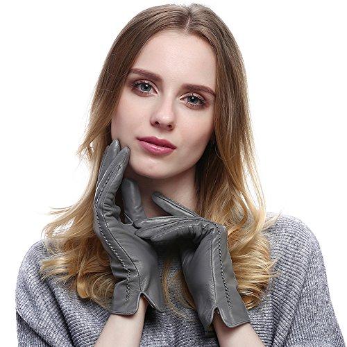 VEMOLLA Damen Fashionable Warme Echte Leder-Handschuhe Von Lammfell(Herbst Oder Winter) Grau Size 7