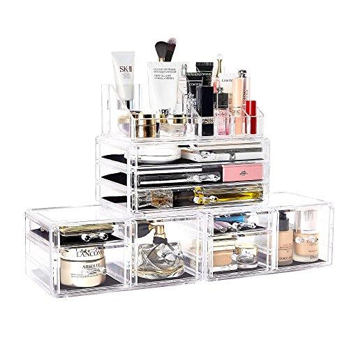 Dream Master Make-up-Organizer 4Stück Acryl Schmuck und Kosmetik Aufbewahrung Display Boxen mit 11Schubladen