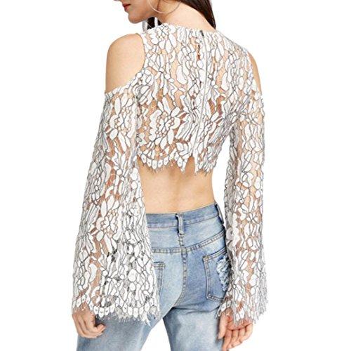 Bluestercool Femmes Chemise courte Manches longues en dentelle d'été Blanc