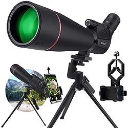 KEXWAXX Longue Vue Tir Sportif Puissante Terrestre 20-60X 80mm IPX7 Étanche Bak4 FMC Film Longue Vue Trepied & Adaptateur Smartphone Monoculaire Telescope