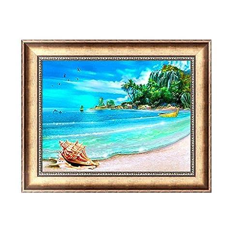 hndhui Landschaft am Meer 5D Herbst Diamond Stickerei Strass Malerei Kreuz Craft Punkt Décor