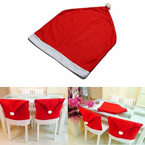 Inovey Weihnachten Santa Clause Red Hat Stuhlabdeckung Weihnachten Dinner - Red Dinner-stühle
