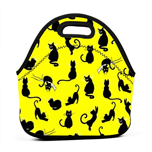 Ute Yellow Cat Pattern Neoprene Lunch Bag with Cutlery