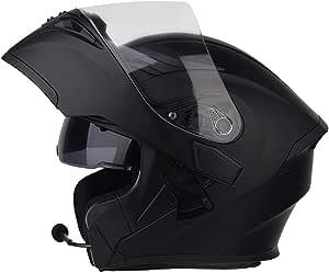 Jiand Bluetooth Helm Motorrad Full Face Klapphelm Motorradhelm Mit Doppelter Linse Mattschwarz 54 64cm M Sport Freizeit