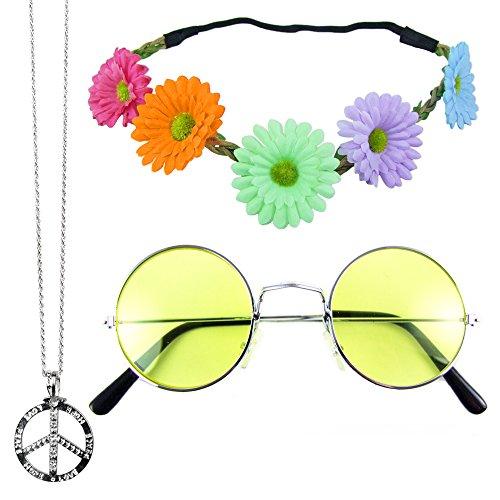 Hippie Set 3-tlg. - Margeriten Haarband, Peace Kette und Lennon Brille - (Kostüme Hippie)