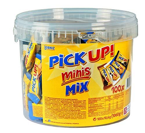Leibniz PiCK UP Minis Mix in der Vorteilsdose - Großpackung mit Keksriegeln - einzeln verpackt - Alle vier Sorten in einem Eimer, 1er Pack (1 x 1060 g)