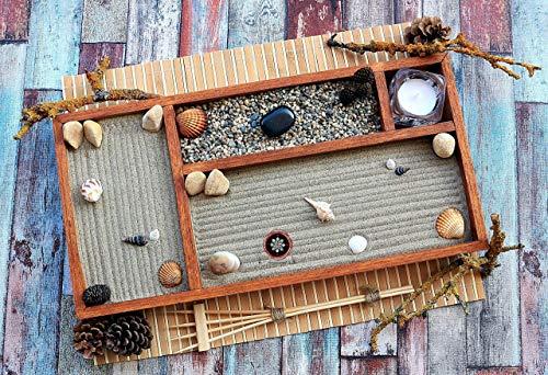 Jardin zen por la Decoracion de un Escritorio en estilo Feng shui.Lleva Velas Arena Conchas y Rastrillo ॐ Zensimongardens®