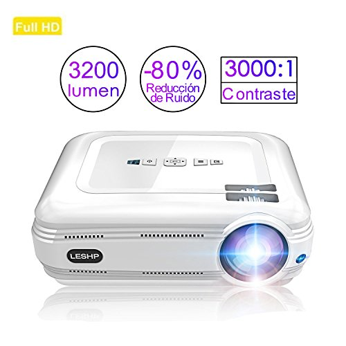 3200 lumens Beamer, LESHP Full HD 1080P Video Beamer LED+LCD Heimkino Videoprojektor 1280 × 800 max Auflösung Kontrast 3000:1,Support 1080P / USB / VGA / SD / HDMI für Xbox / iphone / Smartphone / PC