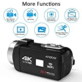 "Docooler Andoer 4K Ultra HD WiFi Digital Video Camera Camcorder DV Recorder 16X Zoom 3.0"" LCD Touchscreen IR Night Vision with Hot Shoe Mount for External Microphone"