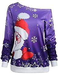 Yvelands Moda Mujer Feliz Navidad Papá Noel Estampado Cuello Oblicuo Sudadera Blusa Tops